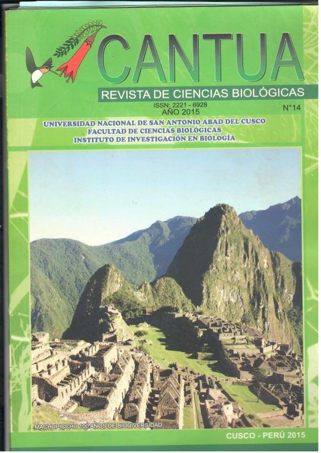 Revista de Ciencias Biologicas Cantua 18 1 Sufer Báez Quispe & 1 Hugo Dueñas Linares, 2 Carlos Nieto R, 1 Jorge Garate Q. ...