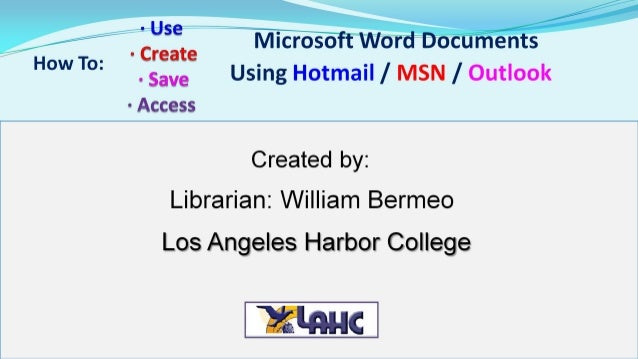 Using Microsoft Word in the cloud with a Hotmail account
