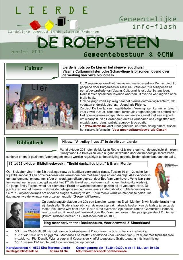 L I E R D E Landelijke eenvoud in de Vlaamse Ardennen  herfst 2011  Cultuur  Gemeentelijke info-flash  Gemeentebestuur & O...