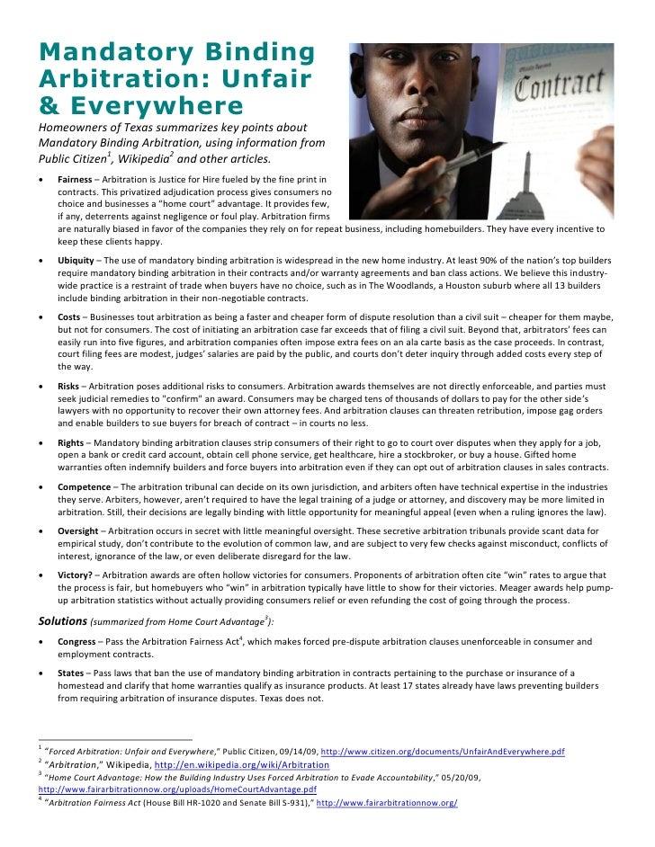 Mandatory Binding Arbitration: Unfair & Everywhere Homeowners of Texas summarizes key points about Mandatory Binding Arbit...