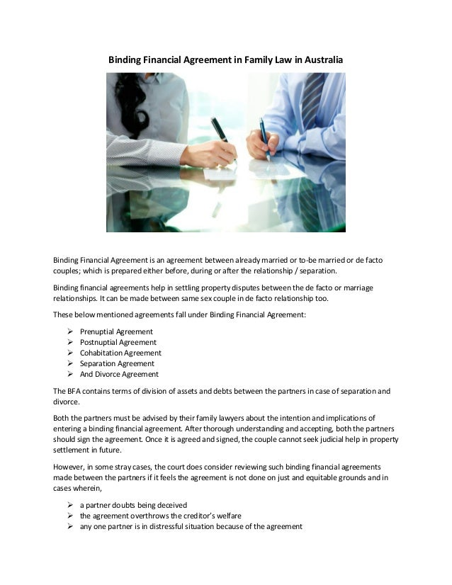 Binding Financial Agreement In Family Law In Australia
