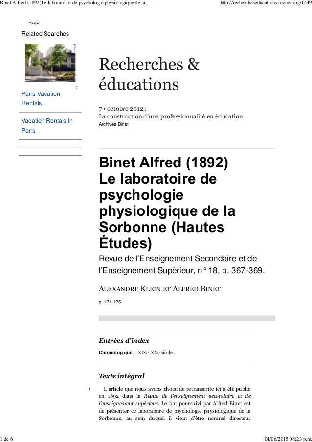 7 • octobre 2012 : La construction d'une professionnalité en éducation Archives Binet Binet Alfred (1892) Le laboratoire d...