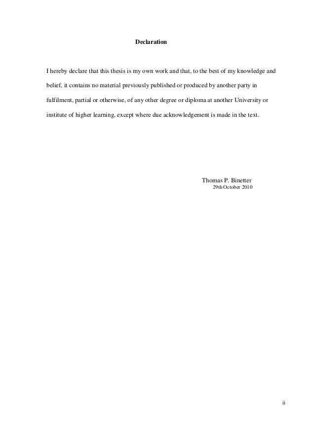 Phd Thesis Declaration Page