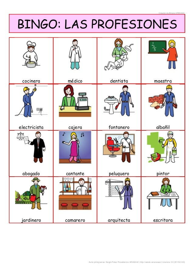 Bingo de las profesiones for Jardinero en ingles