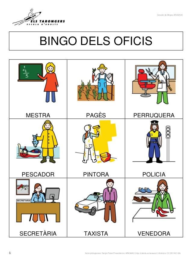 Creador de Bingos ARASAAC 1 Autor pictogrames: Sergio Palao Procedència: ARASAAC (http://catedu.es/arasaac/) Llicència: CC...