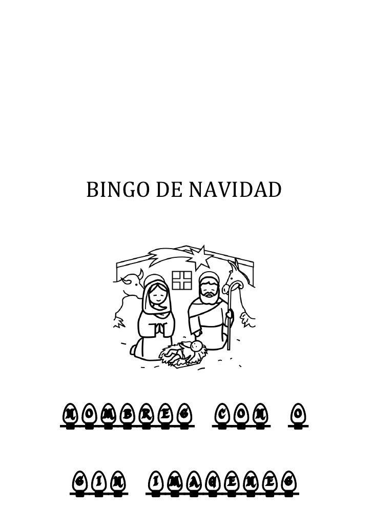 BINGO DE NAVIDAD     NOMBRES CON O  SIN IMAGENES