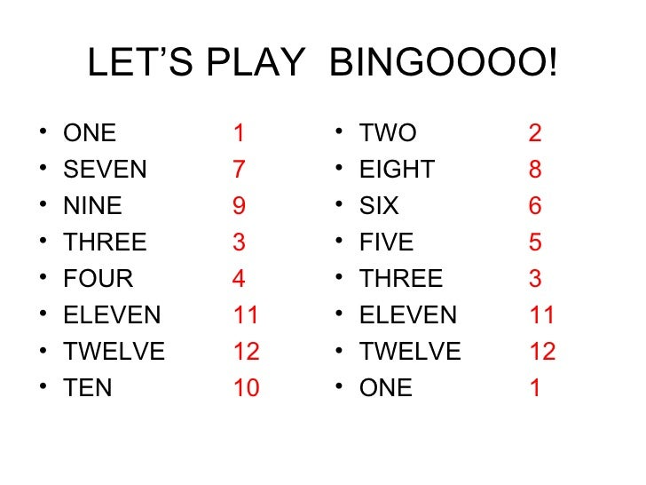 LET'S PLAY  BINGOOOO! <ul><li>ONE  1   </li></ul><ul><li>SEVEN  7 </li></ul><ul><li>NINE 9 </li></ul><ul><li>THREE 3 </li>...