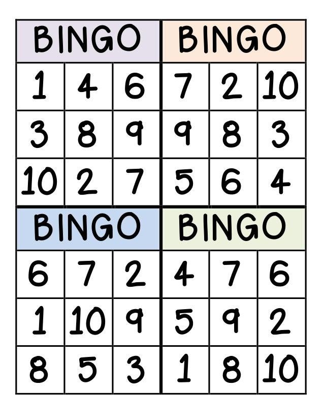 BINGO BINGO 1 4 6 7 2 10 3 8 9 9 8 3 10 2 7 5 6 4 BINGO BINGO 6 7 2 4 7 6 1 10 9 5 9 2 8 5 3 1 8 10