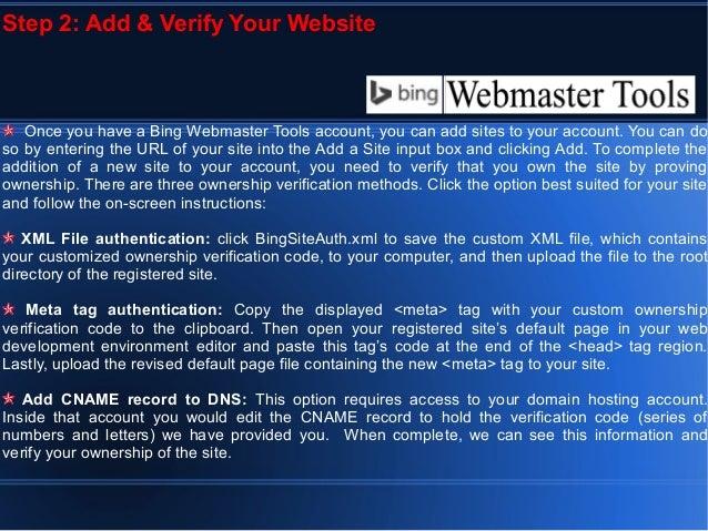 bing web master tools
