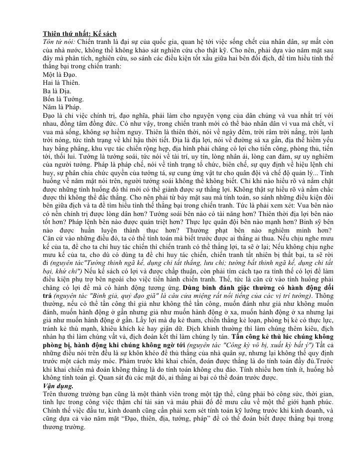Binh phap ton tu trong Kinh Doanh. Thiên thứ nhất: Kế sáchTôn tử nói: Chiến  tranh là đại sự của quốc ...