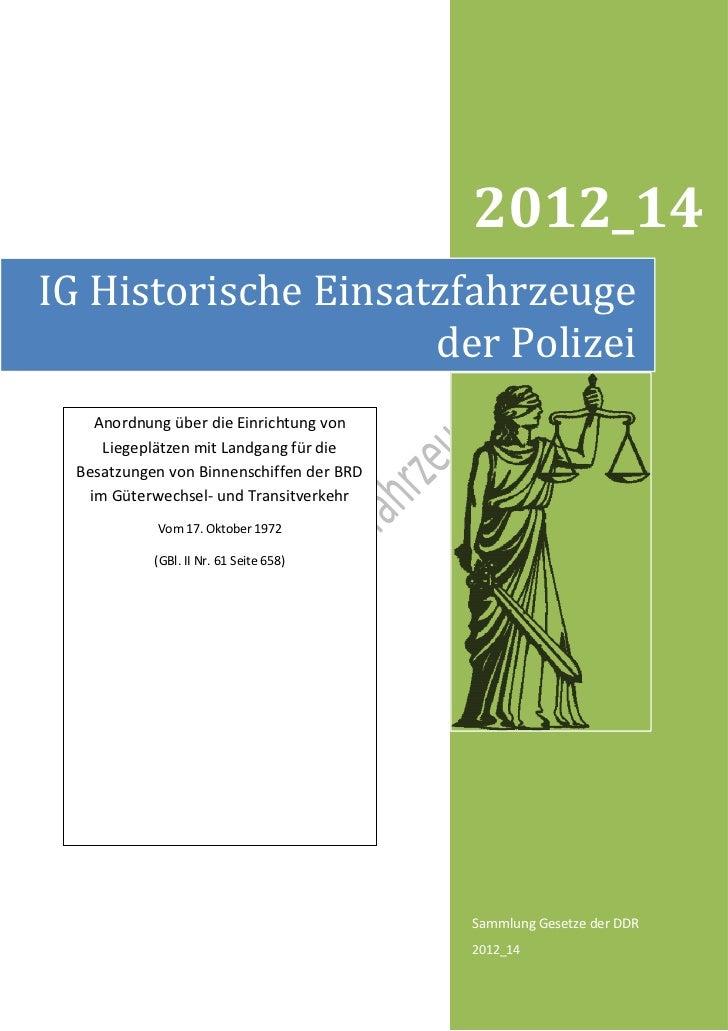 2012_14IG Historische Einsatzfahrzeuge                     der Polizei    Anordnung über die Einrichtung von     Liegeplät...