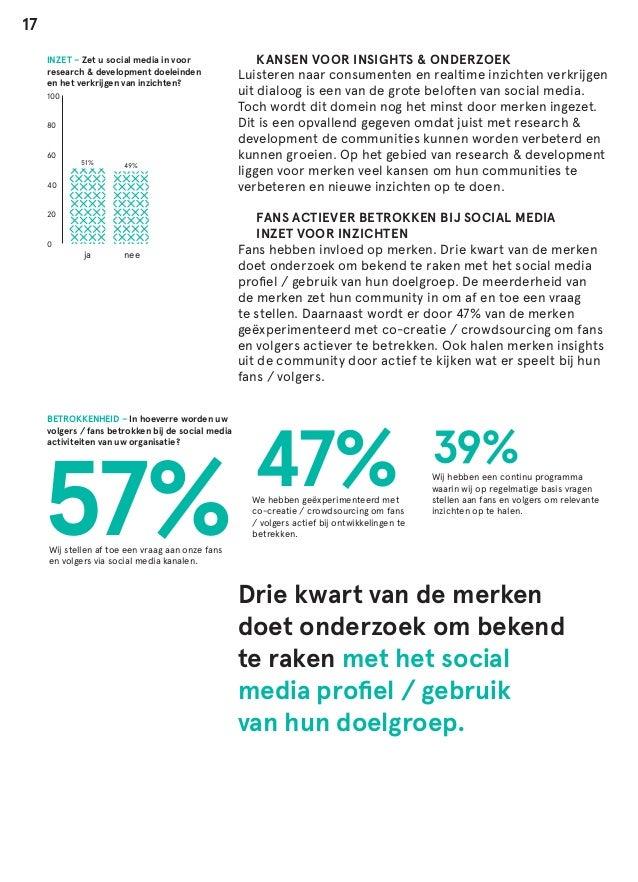 17 INZET – Zet u social media in voor research  development doeleinden en het verkrijgen van inzichten? 100  80  60  51%  ...