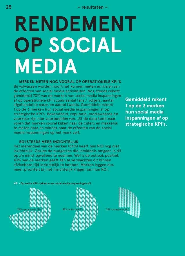 n  25  – resultaten –  RENDEMENT OP SOCIAL MEDIA  MERKEN METEN NOG VOORAL OP OPERATIONELE KPI'S Bij volwassen worden hoor...
