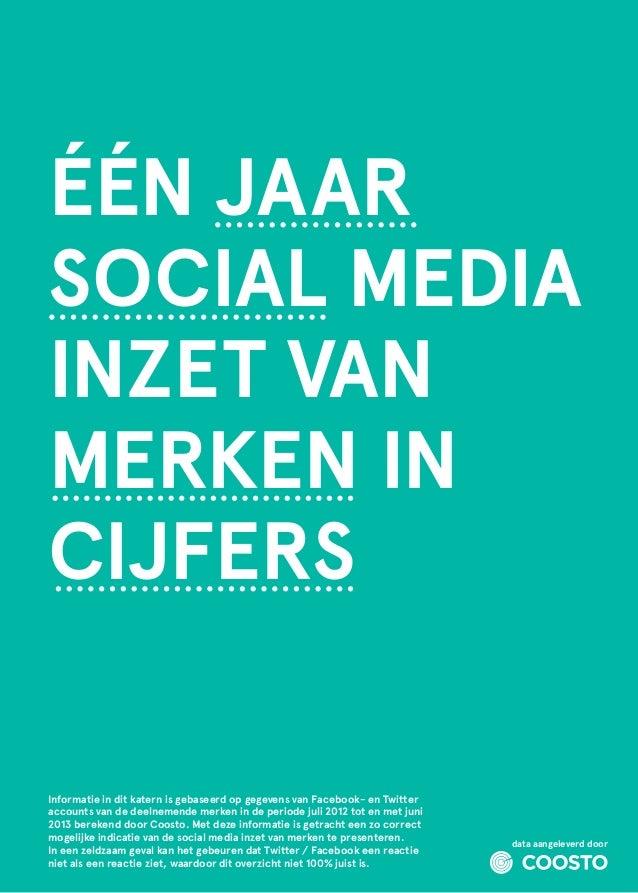 ÉÉN JAAR SOCIAL MEDIA INZET VAN MERKEN IN CIJFERS Informatie in dit katern is gebaseerd op gegevens van Facebook- en Twitt...