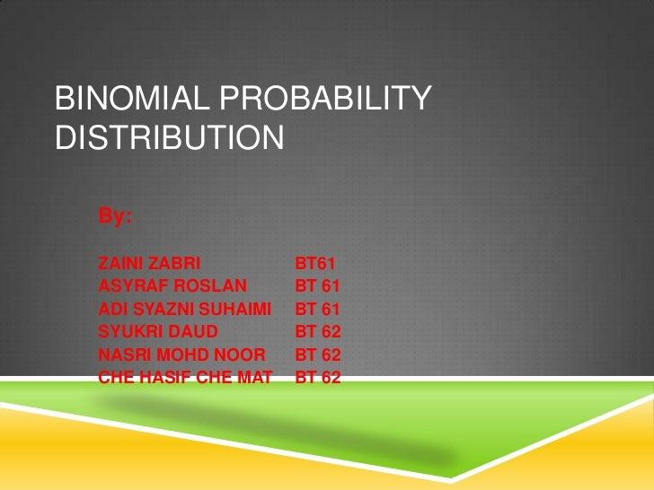 BINOMIAL PROBABILITYDISTRIBUTION  By:  ZAINI ZABRI          BT61  ASYRAF ROSLAN        BT 61  ADI SYAZNI SUHAIMI   BT 61  ...