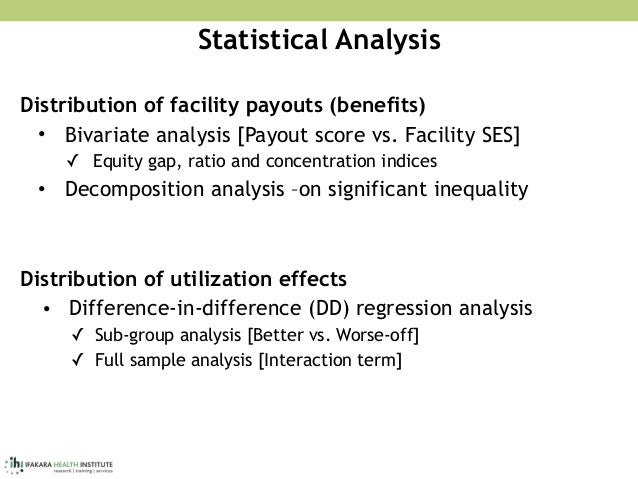 Statistical Analysis Distribution of facility payouts (benefits) • Bivariate analysis [Payout score vs. Facility SES] ✓ Eq...