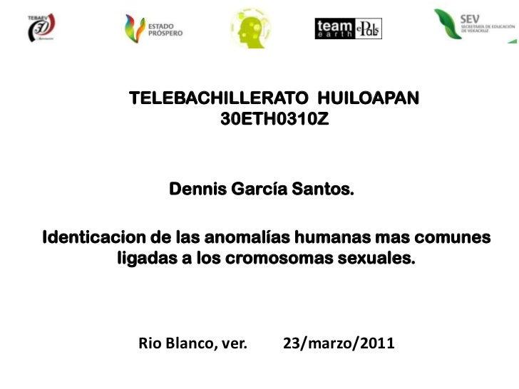 TELEBACHILLERATO  HUILOAPAN<br />30ETH0310Z <br />Dennis García Santos.<br />Identicacion de las anomalías humanas mas com...