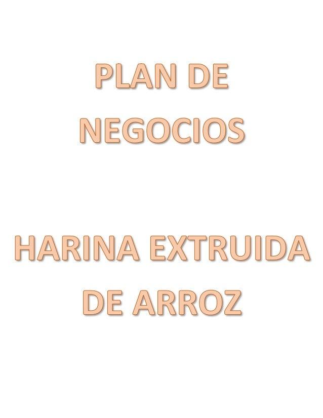 Plan De Negocios Del Arroz Y Su Valor Agregado