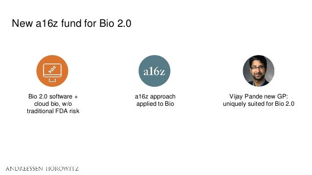 New a16z fund for Bio 2.0 Vijay Pande new GP: uniquely suited for Bio 2.0 a16z approach applied to Bio Bio 2.0 software + ...