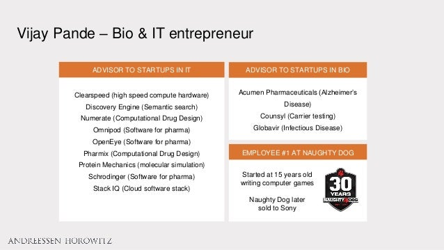 Vijay Pande – Bio & IT entrepreneur ADVISOR TO STARTUPS IN BIO Acumen Pharmaceuticals (Alzheimer's Disease) Counsyl (Carri...