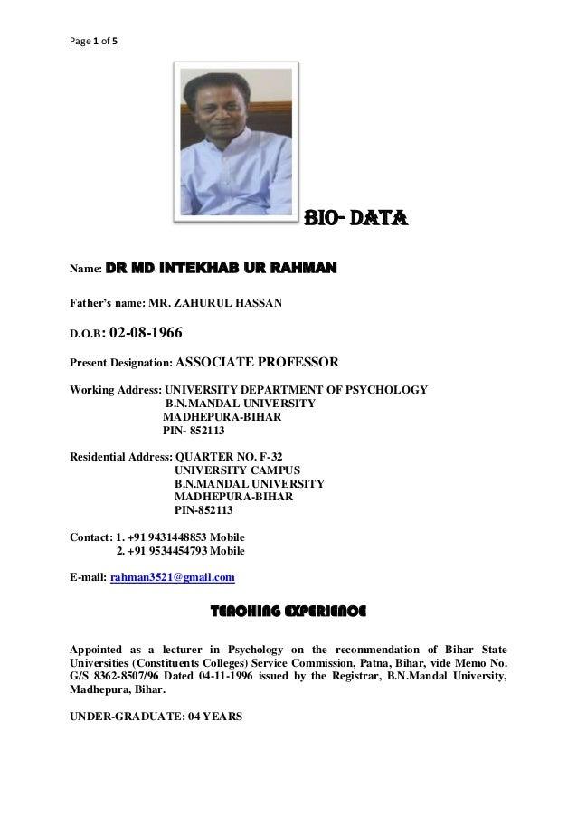 Page 1 of 5 BIO- DATA Name: DR MD INTEKHAB UR RAHMAN Father's name: MR. ZAHURUL HASSAN D.O.B: 02-08-1966 Present Designati...