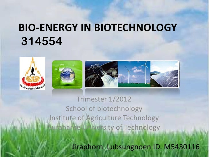 BIO-ENERGY IN BIOTECHNOLOGY314554              Trimester 1/2012           School of biotechnology     Institute of Agricul...