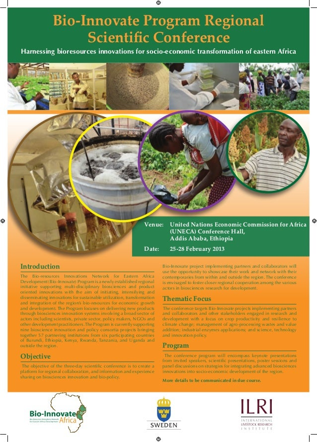 Bio-Innovate Program Regional                     Scientific ConferenceHarnessing bioresources innovations for socio-econo...