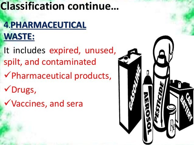 Classification continue… 4.PHARMACEUTICAL WASTE: It includes expired, unused, spilt, and contaminated Pharmaceutical prod...