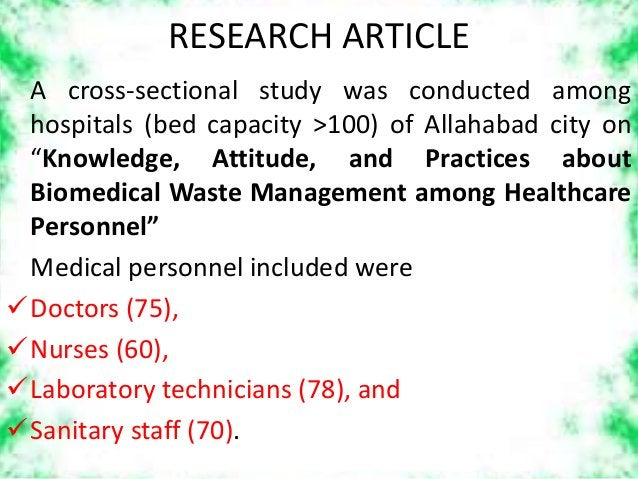 """RESEARCH ARTICLE A cross-sectional study was conducted among hospitals (bed capacity >100) of Allahabad city on """"Knowledge..."""