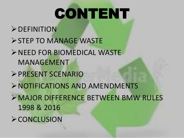 PROFESSOR COMMUNITY MEDICINE PCMSu0026RC; 2. CONTENT DEFINITION STEP TO MANAGE  WASTE ...