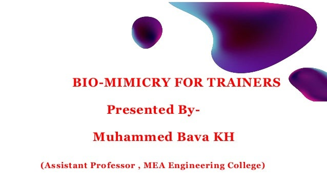 BIO-MIMICRY FOR TRAINERS Presented By- Muhammed Bava KH (Assistant Professor , MEA Engineering College)