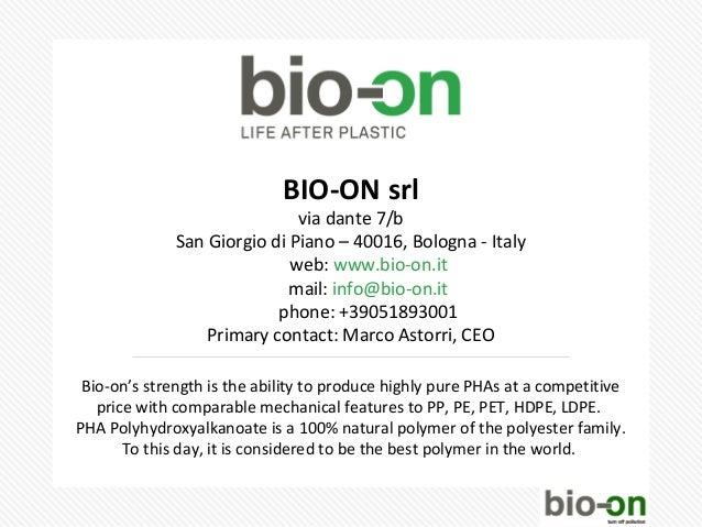 BIO-ON srl                              via dante 7/b              San Giorgio di Piano – 40016, Bologna - Italy          ...