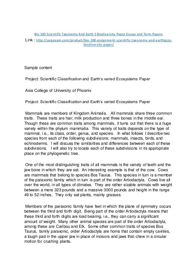 Examples Of Essay Papers  Example Of A Thesis Statement In An Essay also Religion And Science Essay Bio  Scientific Taxonomy And Earth S Biodiversity Paper  Frankenstein Essay Thesis