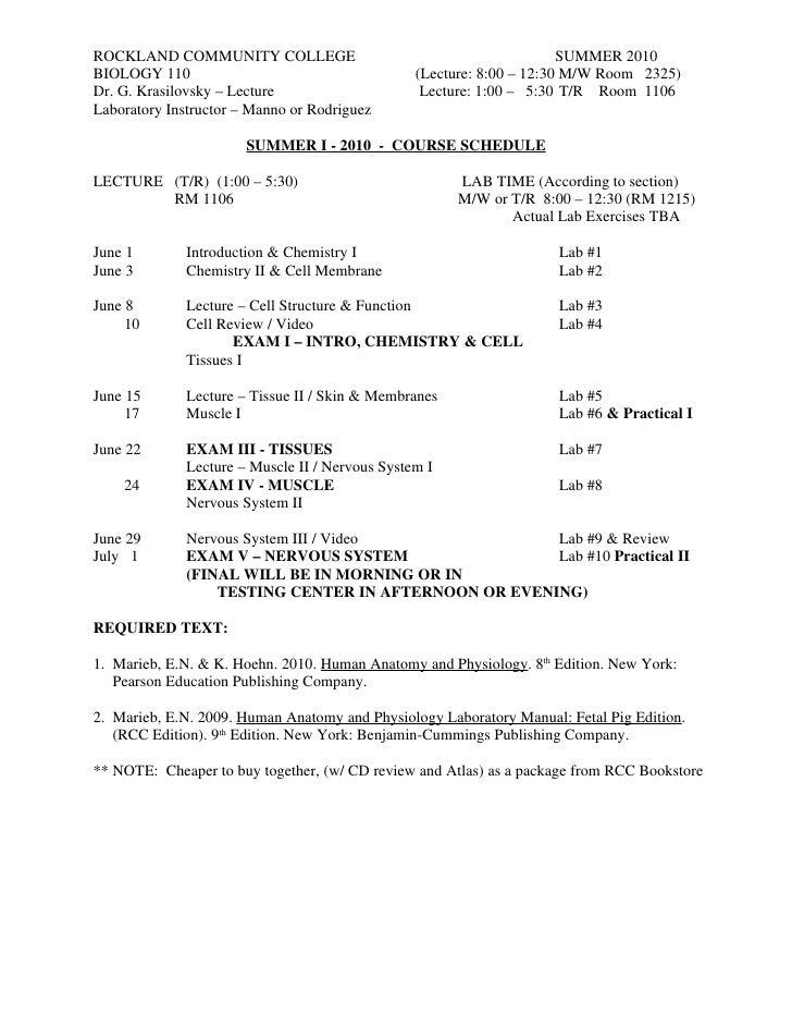 Bio 110 schedule 2010 tr