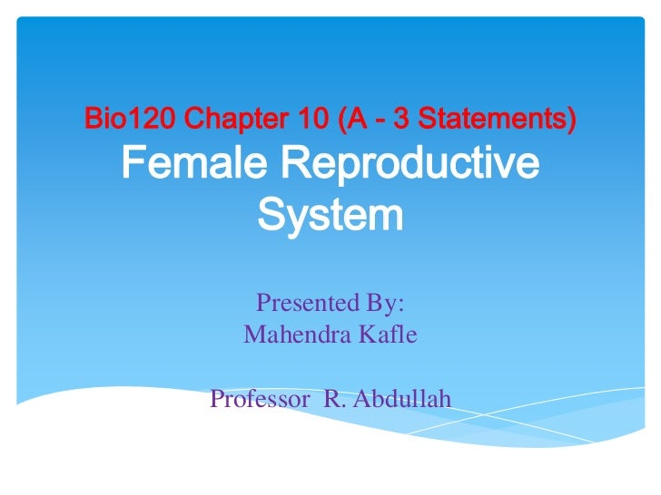 Bio120 Chapter 10 (A - 3 Statements)Female Reproductive System<br />Presented By: <br />Mahendra Kafle<br />Professor  R. ...