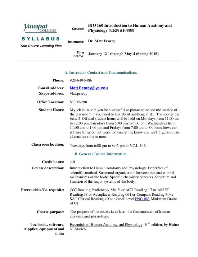 Bio 160 hybrid syllabus spring 15