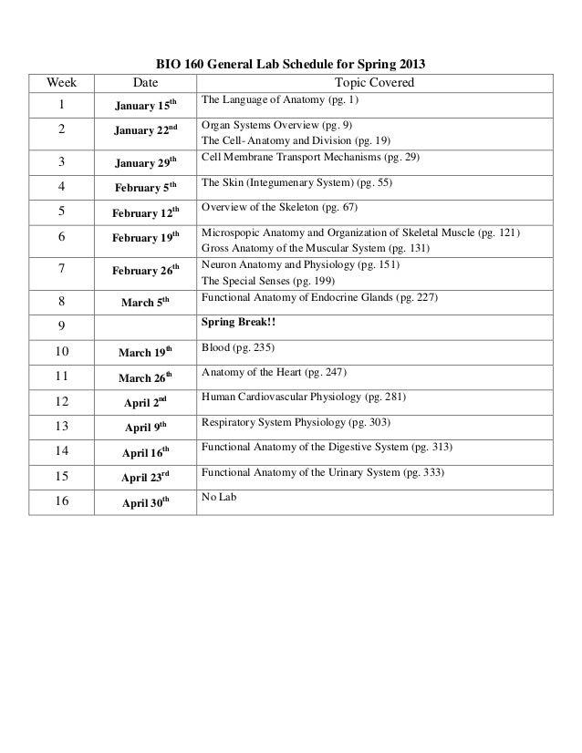 Bio 160 syllabus spring 13