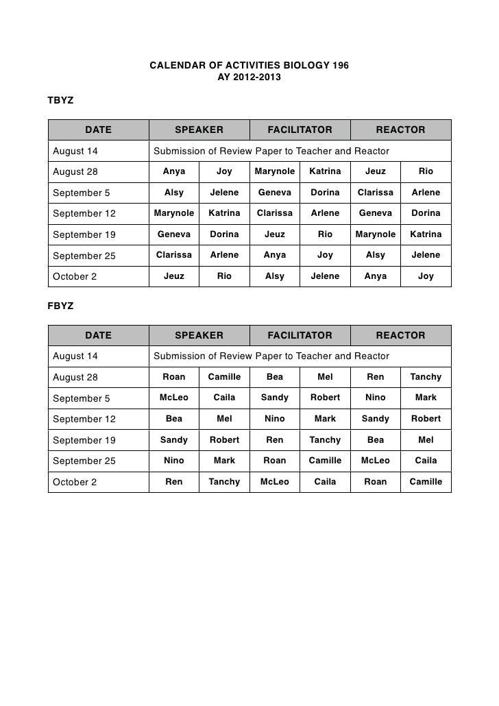 CALENDAR OF ACTIVITIES BIOLOGY 196                         AY 2012-2013TBYZ       DATE         SPEAKER            FACILITA...