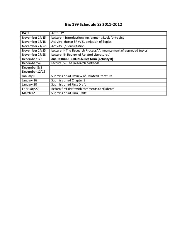 Bio 199 Schedule SS 2011-2012 DATE ACTIVITY November 14/15 Lecture I- Introduction/ Assignment: Look for topics November 1...