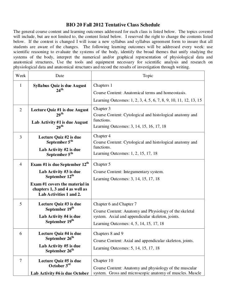 Bio 201 syllabus fall 2012 online