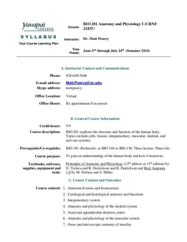 Bio 201 syllabus summer 14