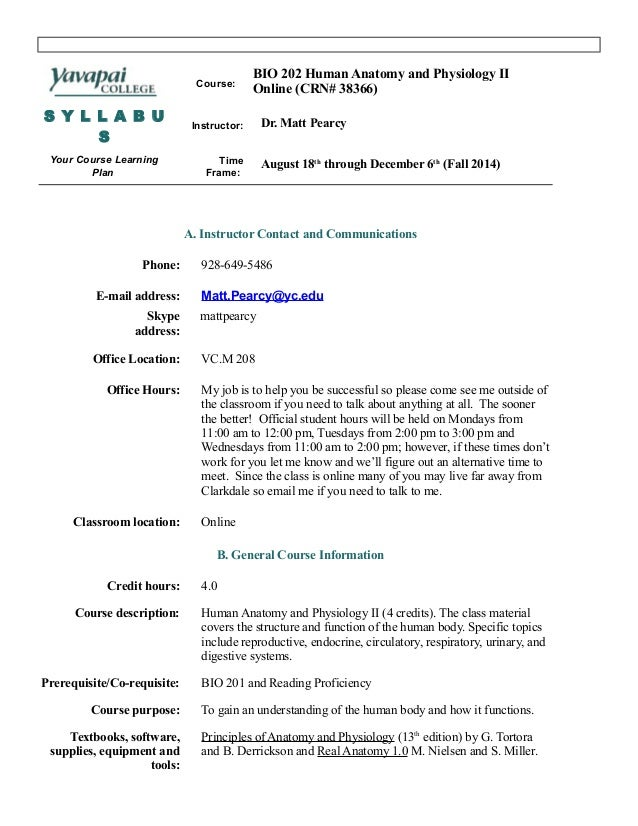 Bio 202 Online Syllabus Fall 14