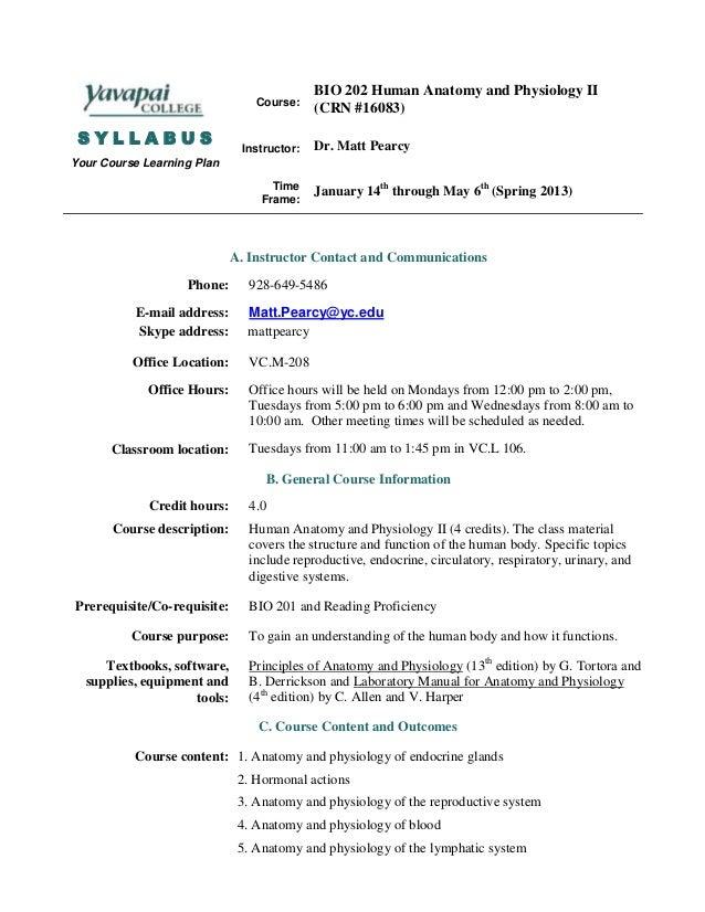 Bio 202 syllabus spring 2013 hybrid