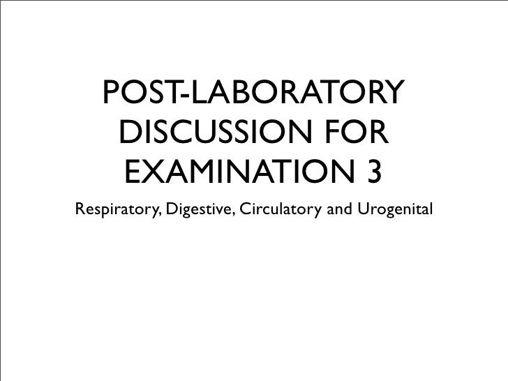POST-LABORATORY     DISCUSSION FOR     EXAMINATION 3 Respiratory, Digestive, Circulatory and Urogenital