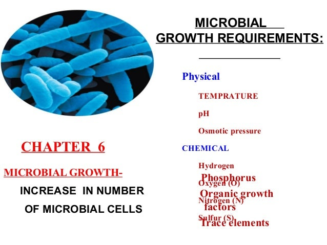 MICROBIALGROWTH REQUIREMENTS:INCREASE IN NUMBEROF MICROBIAL CELLSPhosphorusOrganic growthfactorsTrace elementsPhysicalTEMP...
