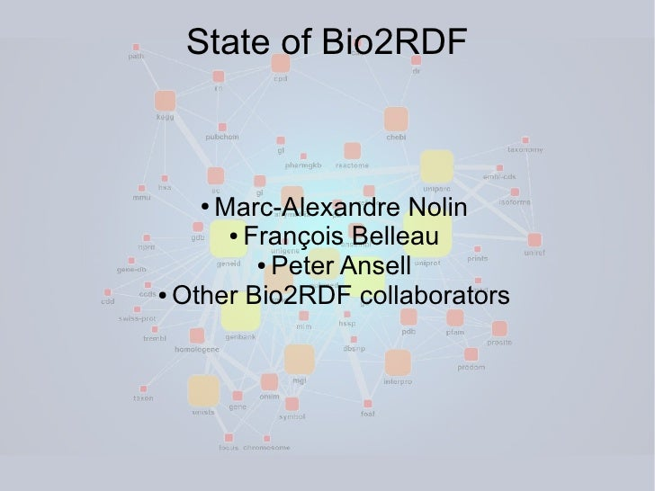State of Bio2RDF       ● Marc-Alexandre Nolin       ● François Belleau           ● Peter Ansell  ● Other Bio2RDF collabora...