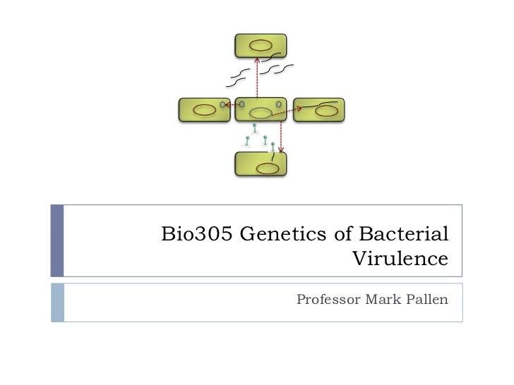 Bio305 Genetics of Bacterial                  Virulence             Professor Mark Pallen