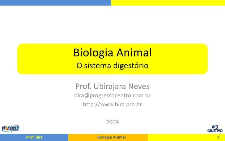 Biologia Animal              O sistema digestório               Prof. Ubirajara Neves              bira@progressocentro.co...