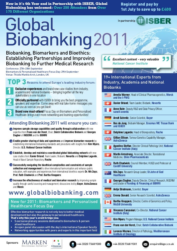 Now in it's 4th Year and in Partnership with ISBER, Global                                                      Register a...