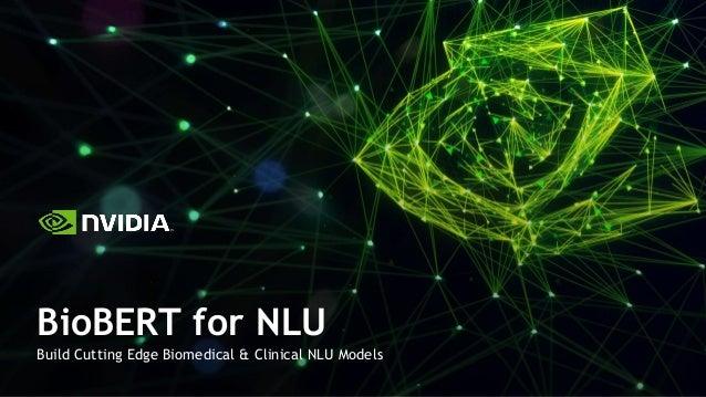 Build Cutting Edge Biomedical & Clinical NLU Models BioBERT for NLU